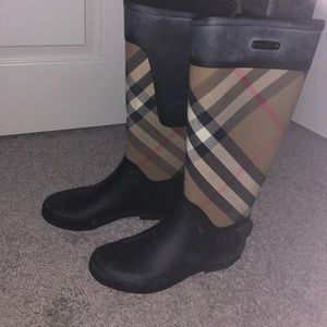 Lightly worn Burberry rain boots